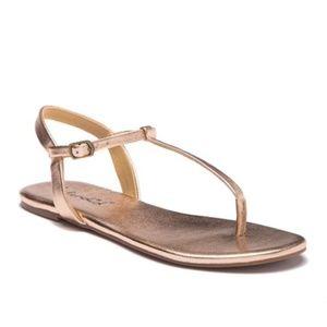 Splendid Sylvie T-Strap Flat Sandals Rose Gold 6.5